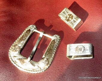Ranger Sterling Silver Gold Detail Belt Buckle Two Belt Holders 24g.