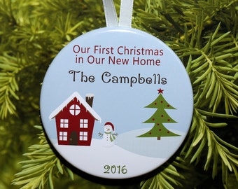 First Christmas In Our New Home Christmas Ornament - Snowman House - Customized - C185