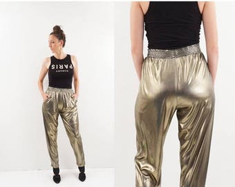 SPRING SALE vintage METALLIC gold Shimmer high waist Stretch pants M