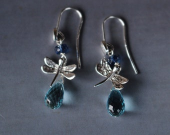 DRAGONFLY - sterling silver earrings with dragonflies, blue topaz and kyanite