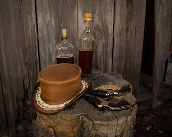 Brown Leather Top Hat with Lace, Tan, Camel, Western, Wild West, Women's, Steampunk, Victorian, Hand tooled, Handmade, Cream, Light Brown