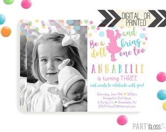 Baby Doll Party Invitation   Digital or Printed   Dolly Invitation   Doll Party   Doll Birthday Party   Dolly Invitations   Girl Doll Party