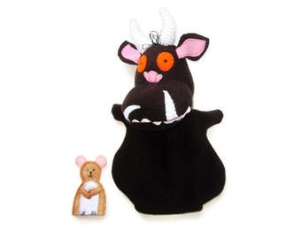 Gruffalo and Mouse Hand Puppet Set/Custom Design/Storybook Hand Puppet/Finger Puppet Mouse