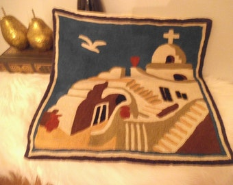 Vintage Embroidered Middle Eastern Pillow cover ~ Tomb and Cross ~ Dove ~ Religious ~ Christian ~