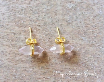 Faceted crystal studs- rose quartz- gold plated studs- Valentines gift