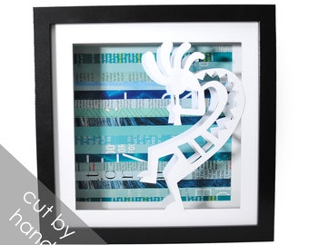 Kokopelli shadowbox- made from recycled magazines, New Mexico, fertility God, legend, Native American  culture, you choose your own color