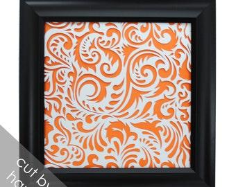 delicate PAPER CUTTING - handmade art, Paper cut art, swirls, flowers, unique wall art, framed paper cut, white paper, botanical, original