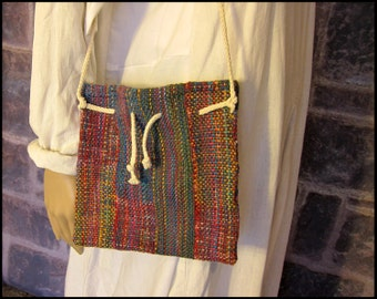 Handwoven Multicolored Purse with Drawstring