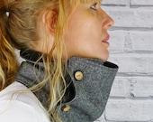 Women's Neckwarmer Scarf - Black/Grey Yorkshire Birdseye Tweed, Womens Scarf, Cowl, snood