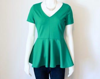 Bright Green Peplum Vneck Tshirt, Vneck Top, Green Shirt, Womens Peplum Tops, Peplum Skirt, Womens Tops, Ladies Spring Fashion