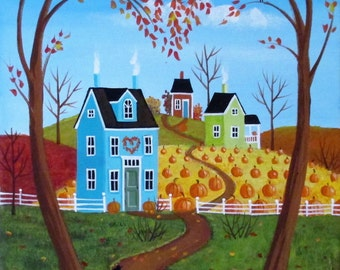 Heart of Autumn ORIGINAL Folk Art Painting FREE Shipping