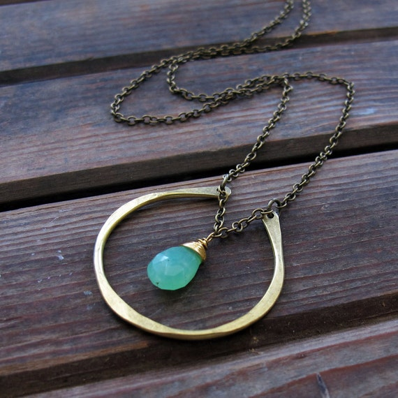 By Chance - Brass Horseshoe Necklace - Chrysoprase Stone Necklace - Artisan Tangleweeds Jewelry - Green Stone Necklace