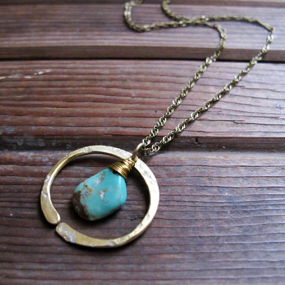 Redwoods Necklace - Turquoise or Moss Agate Stone - Rustic Stone Jewelry - Moss Agate Necklace - Rustic Turquoise Necklace