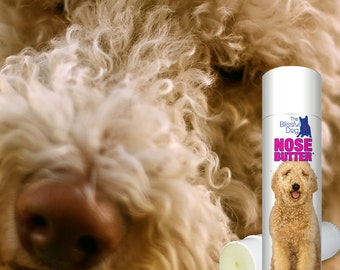 GoldenDoodle ORIGINAL NOSE BUTTER® Handcrafted Balm for Rough, Dry, Crusty Dog Noses .50 oz Tube with Golden Doodle on the Label