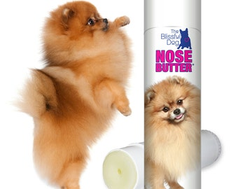 Pomeranian ORIGINAL NOSE BUTTER® Handcrafted, All Natural Balm for Rough, Dry, Crusty Pom Dog Noses .50 oz Tube with Pom Label in Gift Bag