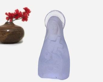 Vintage Mary Statue Figurine - Small Glass Religious Statue - Purple, Lavender