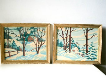Antique Painting Set - Cabin Woods In Snow