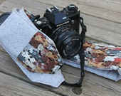 Monogrammed Camera Strap For DSL Cat Print With Grey Reverse and Lens Cap Pocket