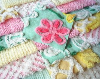"Vintage Chenille Bedspread Squares -Pink, Yellow and Aqua- 21-6"" - PRETTY"