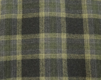 Green Plaid Felted Wool Fabric Wool Perfect for Rug Hooking, Applique and Crafts by Quilting Acres
