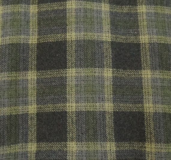 Green Plaid Felted Wool Fabric Wool Perfect For Rug Hooking