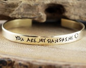 Mom Bracelet, Gift for Mom, You are my sunshine, Gold Cuff Bracelet, Personalized Cuff Bracelets, Hand Stamped Bracelets, Custom Bracelets