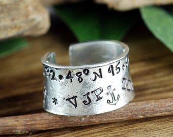 Graffiti Ring, Secret Message Ring, Longitude Latitude Ring, Hand Stamped Ring, Roman Numeral Ring, Personalized Ring, Adjustable RIng