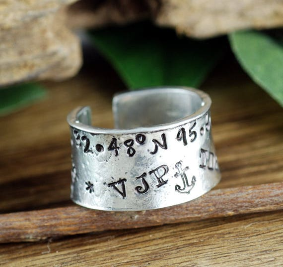 Graffiti Ring, Secret Message Ring, Longitude Latitude Ring, Hand Stamped Ring, Roman Numeral Ring, Personalized Ring, Adjustable RIng