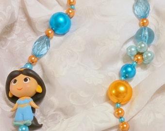 Princess Jasmine Disney Disneyland Mini Figure beaded necklace