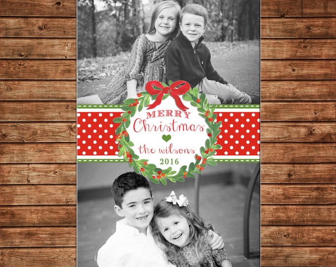 Photo Picture Christmas Holiday Card Watercolor Wreath Bow Polka Dot Two Pictures- Digital File
