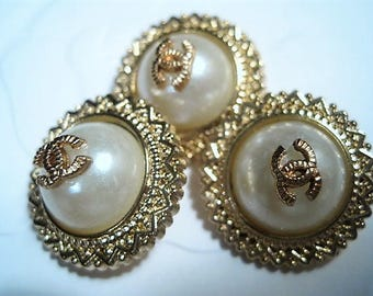 Summer Sale!!!! Three (3) Chanel Faux Pearl Gold Dome Metal Buttons, 22 mm