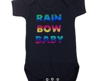 Rainbow Baby Black Baby Vest Onesie
