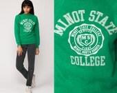College Sweatshirt 80s MINOT STATE College North Dakota Graphic Raglan Sleeve Green Slouchy Sweater Grunge Vintage Small