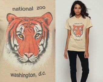 Tiger Shirt 80s Animal Tshirt Graphic Big Cat Face SCREEN STARS Burnout Tee National Zoo Washington DC T Shirt Vintage 1980s Extra Small xs