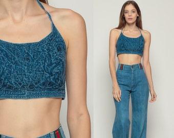 Crop Top Vintage Boho EMBROIDERED Tank Top Indian Shirt Halter Neck Backless Ethnic Blouse 90s Bohemian Grunge Hippie Blue Medium