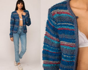 Striped Cardigan Sweater 80s Sweater NUBBY KNIT Boho Hipster Retro Blue Red Open Front Bohemian 1980s Vintage Small