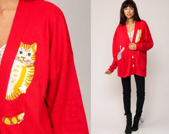 CAT Cardigan Kitten Sweater 80s Animal Sweatshirt 1980s Vintage Oversized Button Up Red Novelty Print Pocket Large