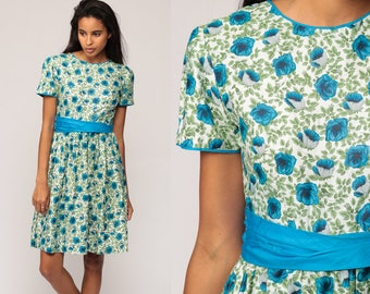 1950s Dress Floral Print Mini Garden Party 50s Pin Up Day Dress Rockabilly Green Blue Vintage Mad Men High Waisted Short Sleeve Extra Small