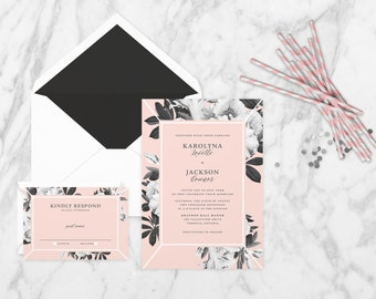 The 'Calliope' Romantic Floral Wedding Invitation Suite (Sample)