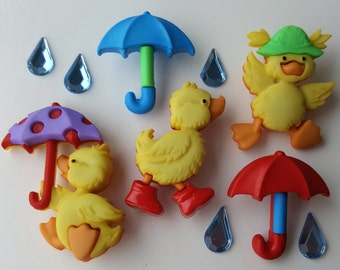 PUDDLE JUMPERS Yellow Duck Duckling Umbrella Rain Drop Dress It Up Craft Buttons