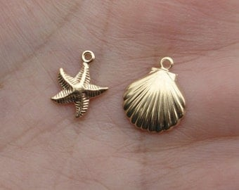 Gold Filled Shell Charms or Starfish Charms - You choose the quantity and style