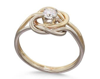 Diamond Engagement Gold Ring • 14k Gold 0.25ct Diamond • Rose Gold Ring • Love Knot Ring • Wedding Ring• Gift for Her • Anniversary Gift