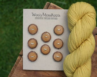 8 Sassafras Wood Buttons- Reclaimed Wood Buttons- Knitting, Sewing, Craft Buttons- DIY Craft Supply