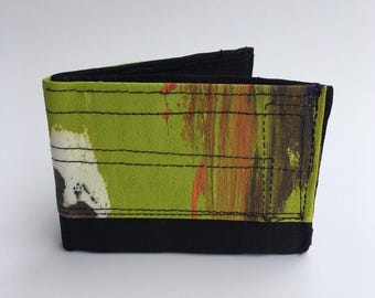 Bifold wallets, men's wallet, painted wallets, fabric wallets, recycled wallets