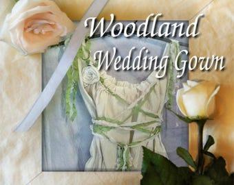 Woodland Wedding Lace Up Dress Midi, Maxi, Bridal Greenery Gown Mori Girl Renaissance Faire Forest Style Rustic Fairy Custom Boho Corset
