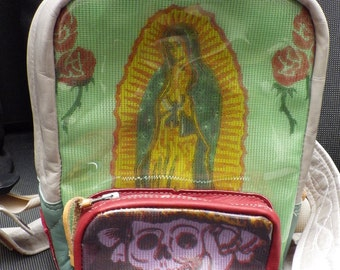 Guadalupe/Day of the Dead Leather Mini-Backpack Handmade