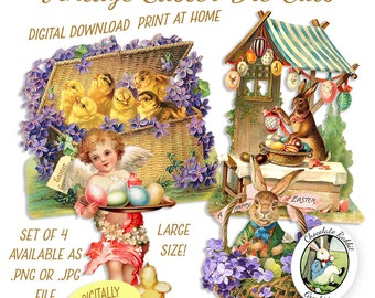 Easter Die Cuts Vintage Clip Art Digital Download Printable Graphic Scrapbook Card Tag Images Clipart Fabric Transfer Decal Collage Sheet
