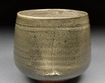 Larger Handmade Smokey Stoneware Yunomi Tea Cup glazed  Carbon Trap Shino