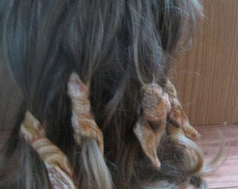 Dread Wraps,Tan Boho Print, Ponytail Holders, Dread Accessories, Wired Dread Holders, PonyTail Twists, Boho Hair Accessories, Set of 6