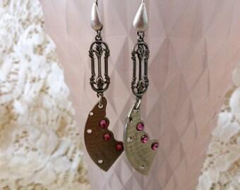 Victorian Steampunk Style Earrings, Rose Pink Rhinestone Jewelry, Watch Bridge Earrings, Unique Jewellery, Handmade Jewelery for Women